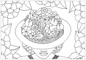 coloring-adult-elanise-art-woman-flowers-hat