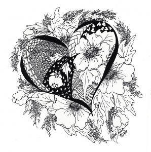 coloring-page-love-heart-with-leaves-and-flowers