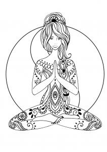Difficult art zen and anti stress coloring pages for Yoga coloring book for adults