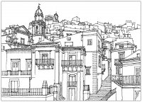 coloring-adult-sicilia-italia-village