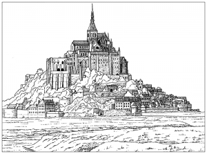 coloring-page-mont-saint-michel-france