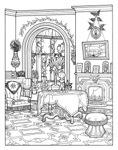 Coloring Victorian Interior Style Adult Sheets Free Printables Architecture