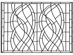 coloring page art deco windows madrid
