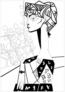 coloring-picasso-jacqueline-with-flowers