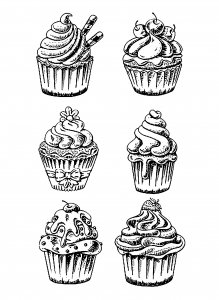 Worksheet. Cupcakes easy celine  Cup Cakes  Coloring pages for adults