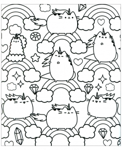 coloring-kawaii-pusheen-and-rainbow