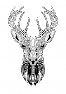 Coloring-Page-Zentangle-Reindeer-Christmas
