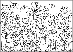 Vintage flower garden clip art black and white - Flowers Adult ...