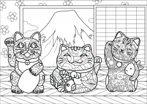 Drawing created from tea house - Japan Adult Coloring Pages