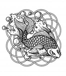 coloring-page-mandala-fish-and-bubbles