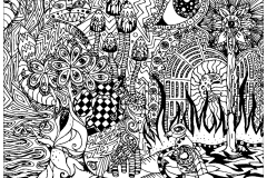 coloring page adult psychedelic patterns hidden cat