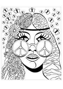coloring psychedelic girl butterflies - Psychedelic Coloring Book