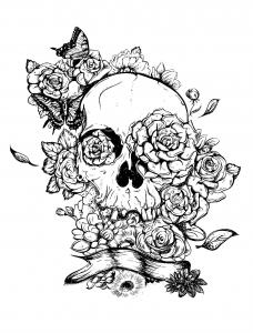 coloring adult skull and roses tatoo - Dream Catcher Coloring Pages