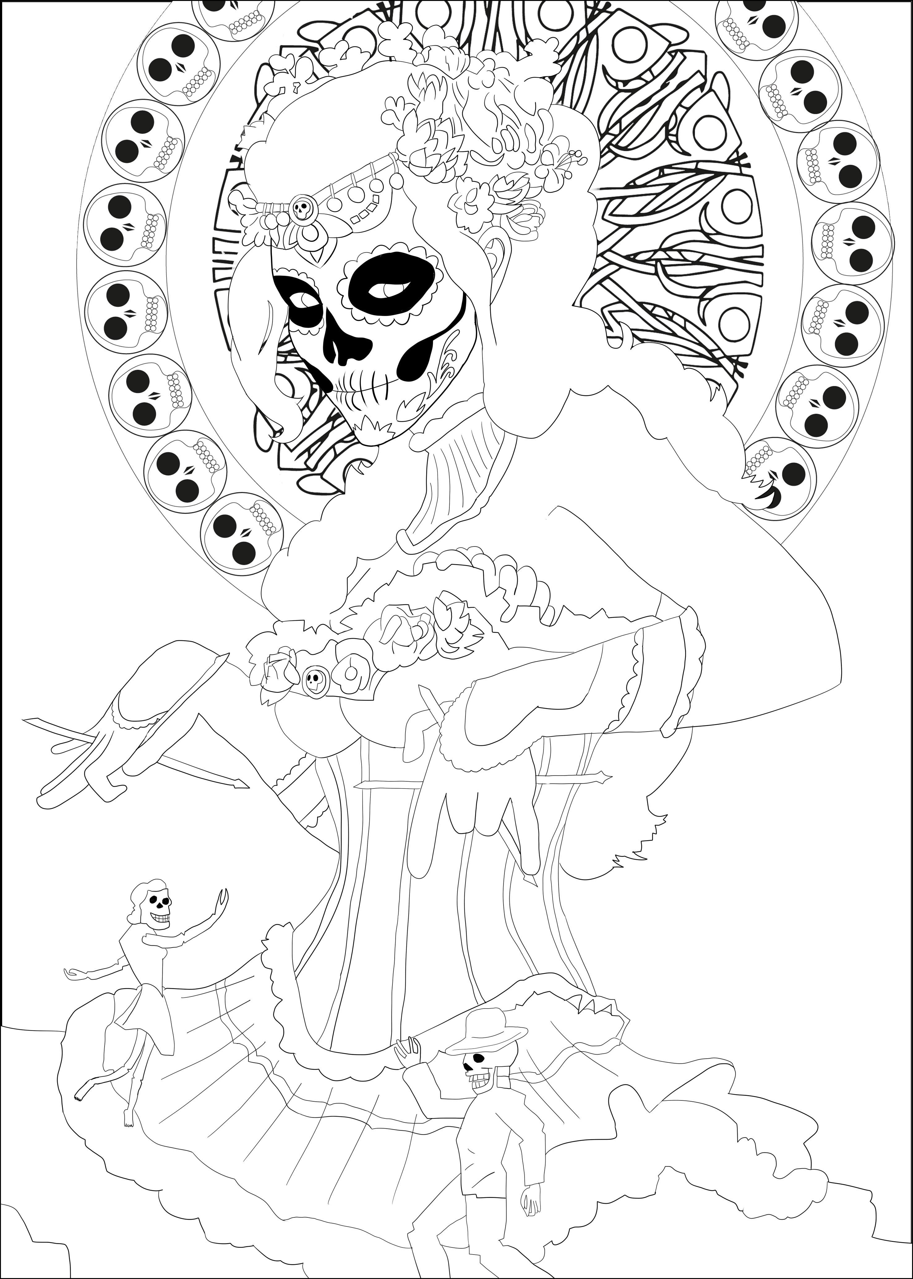 El dia de los muertos coloring pages for adults for El dia de los muertos coloring pages