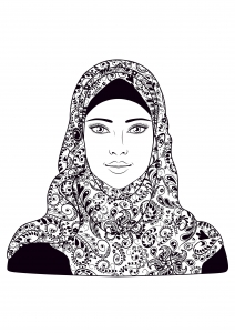 coloring-page-adults-woman-headscarf free to print