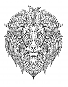 coloring-adult-africa-lion-head free to print