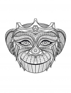coloring-adult-africa-monkey-head free to print