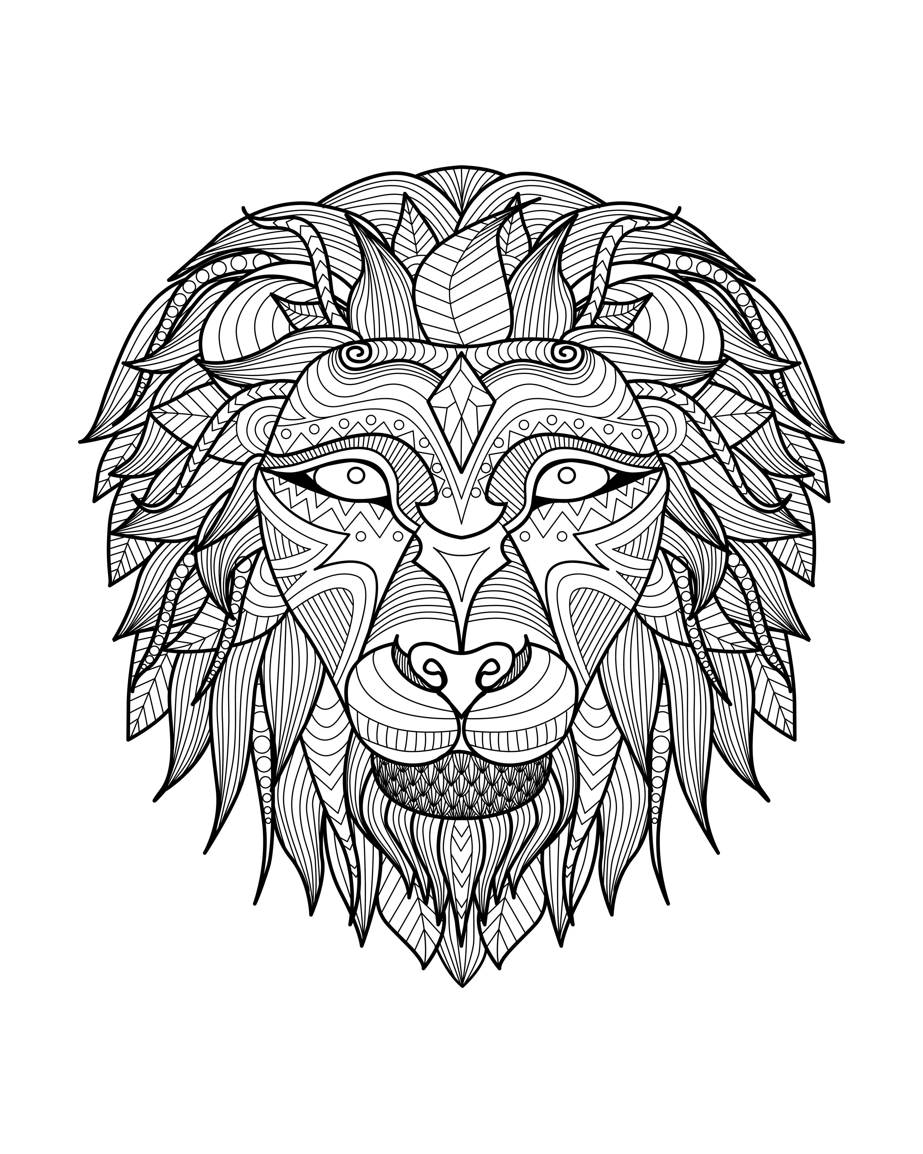 Animals - Coloring pages for adults : coloring-adult-lion ...