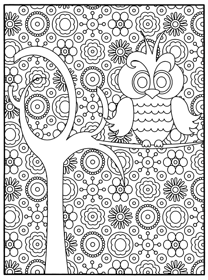 Animals coloring pages for adults coloring adult owl for Coloring pages with lots of detail
