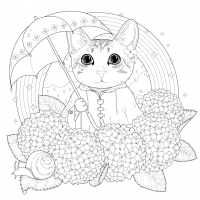 coloring-pages-adults-cat-rainbow-mandala-by-kchung free to print
