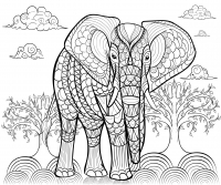 coloring-pages-adults-elephant-by-alfadanz free to print