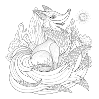 44695488 - graceful fox coloring page in exquisite style free to print