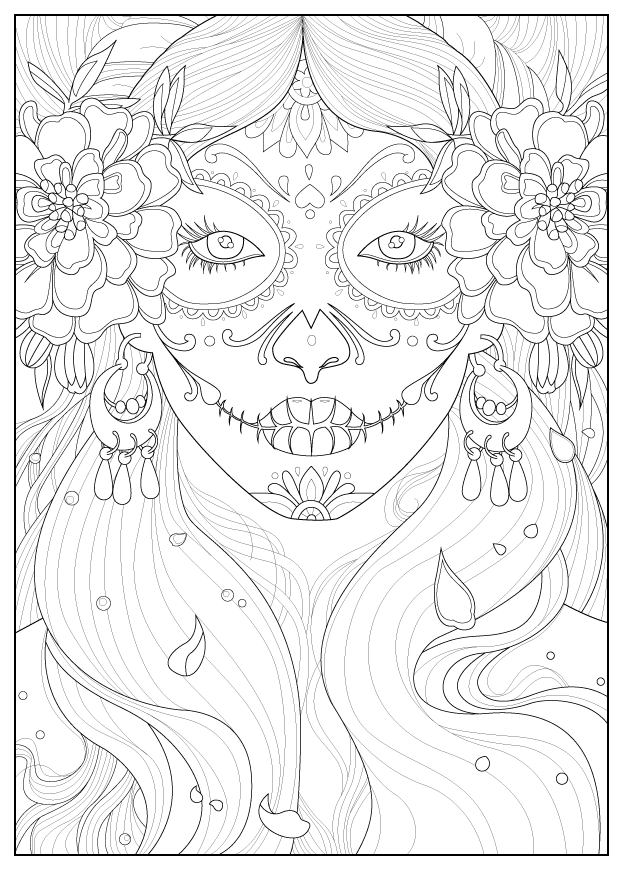 Coloring page inspired by 'The day of the dead' celebration in MexicoFrom the gallery : Zen & Anti StressArtist : Juline