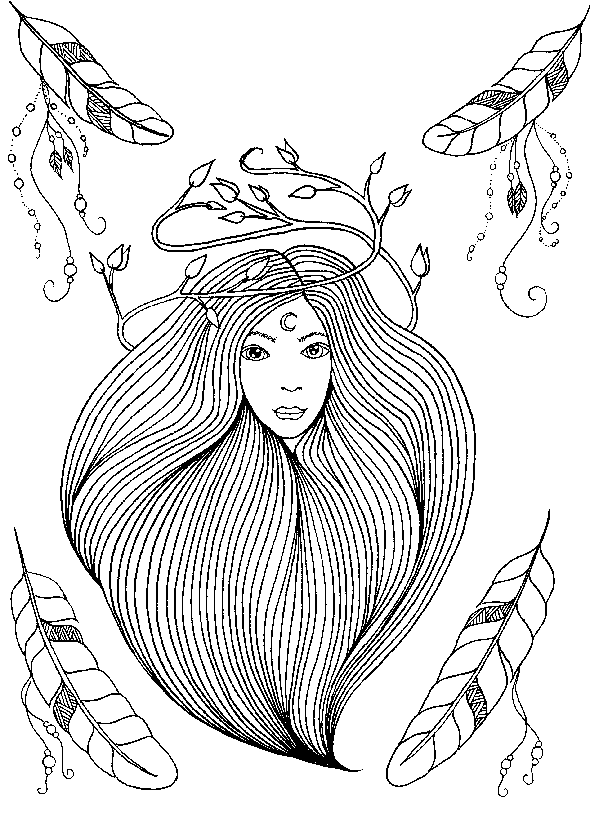 Coloring page of the cover of the Leen Margot's book 'Feathers and Dreams'From the gallery : Zen & Anti StressArtist : Leen Margot