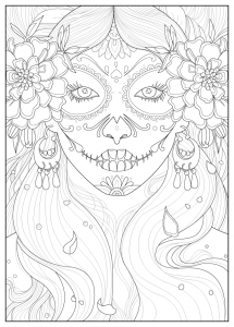 Coloring-page-adult-days-of-the-dead-by-Juline free to print