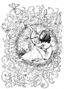 coloring-adult-zen-anti-stress-to-print-princess-in-leaves-and-branches free to print