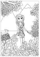 coloring-flower-girl-by-miwah free to print