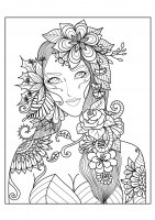 coloring-page-adults-woman-flowers free to print