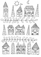 coloring-simple-houses free to print