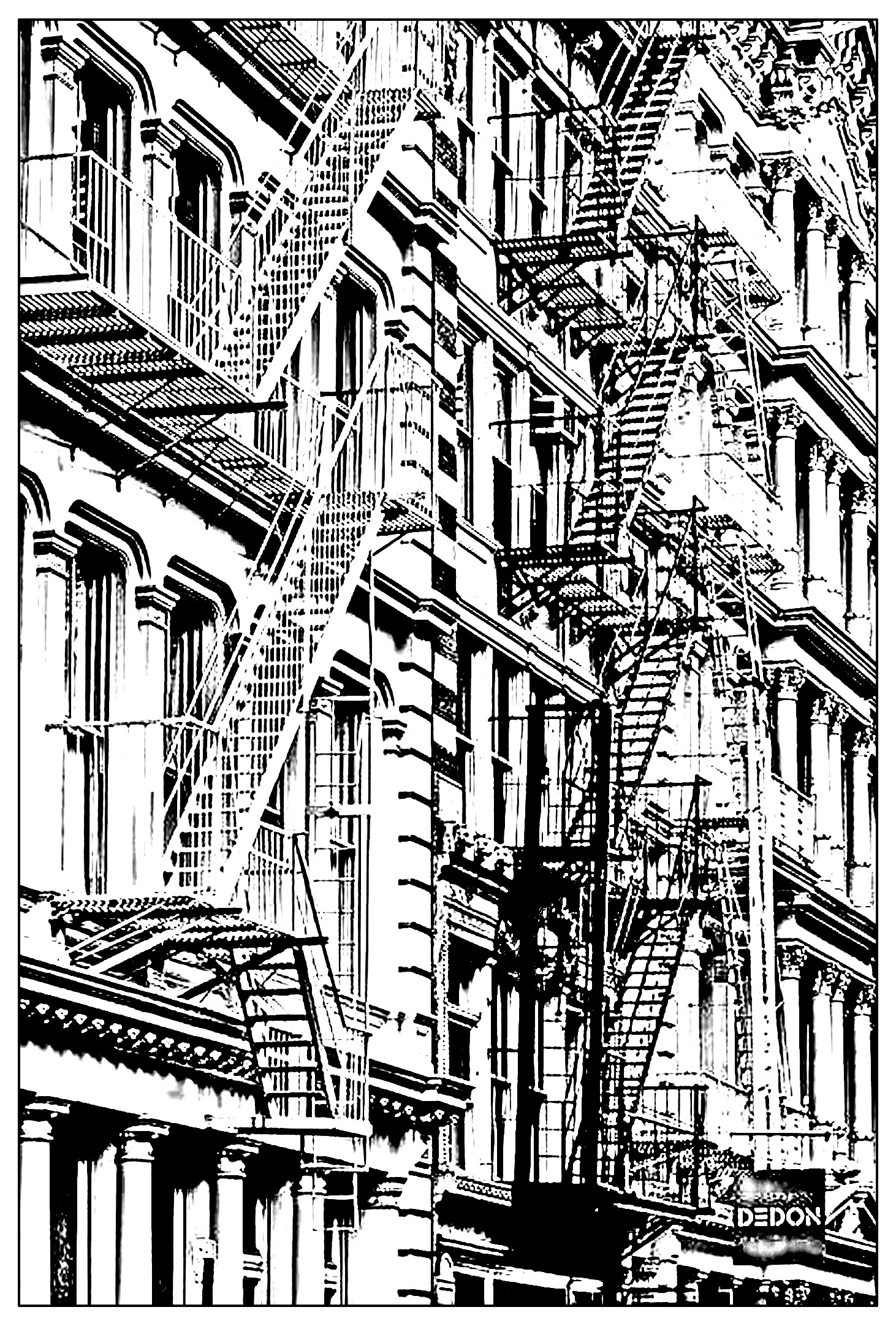 architecture coloring book pages - photo#30