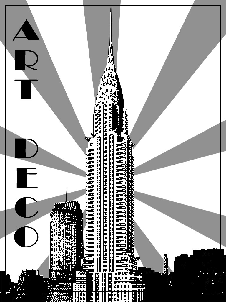 art deco coloring pages for adults coloring adult art deco chrysler building new york. Black Bedroom Furniture Sets. Home Design Ideas