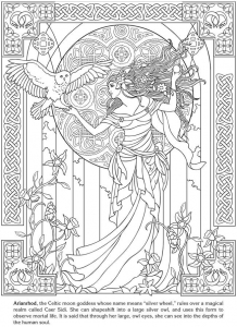 coloring-adult-arianrhod-celtic-goddess free to print