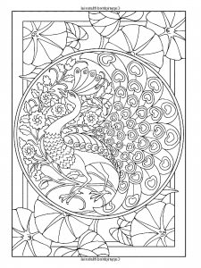 coloring-adult-art-nouveau-style-peacock free to print