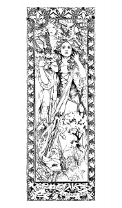 coloring-adult-maude-adams-jeanne-d-arc-alfons-mucha free to print