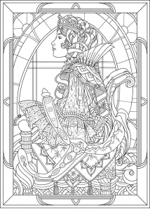 coloring-adult-queen-art-nouveau-style free to print