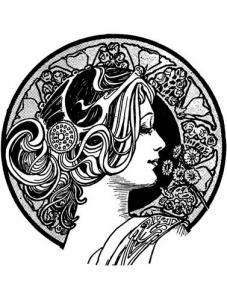 coloring-adult-visage-art-nouveau free to print