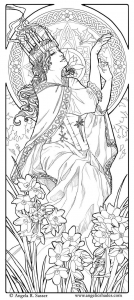coloring-adult-woman-art-nouveau-style free to print