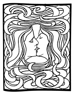 coloring-art-nouveau-from-le-baiser-by-peter-behrens-1898 free to print