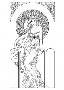 coloring-drawing-woman-inspiration-art-nouveau free to print