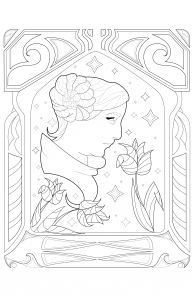 coloring-page-adult-Princess-Leia-by-Juline free to print