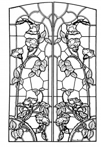coloring-stained-glass-drawing-art-nouveau-style free to print