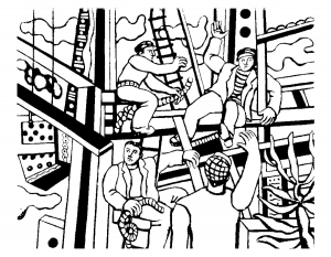 coloring-adult-fernand-leger-builders free to print
