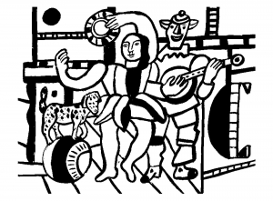 coloring-adult-fernand-leger-the-dog-on-the-ball free to print