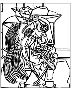 coloring-adult-from-picasso-weeping-woman-1937 free to print