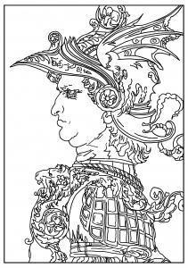 coloring-adult-leonardo-da-vinci-Profile-of-a-Warrior-in-helmet-1477 free to print