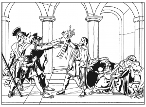 coloring-adult-oath-of-the-horatii-by-david free to print